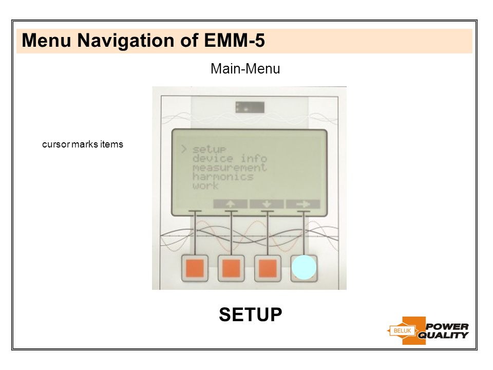 Menu Navigation of EMM-5