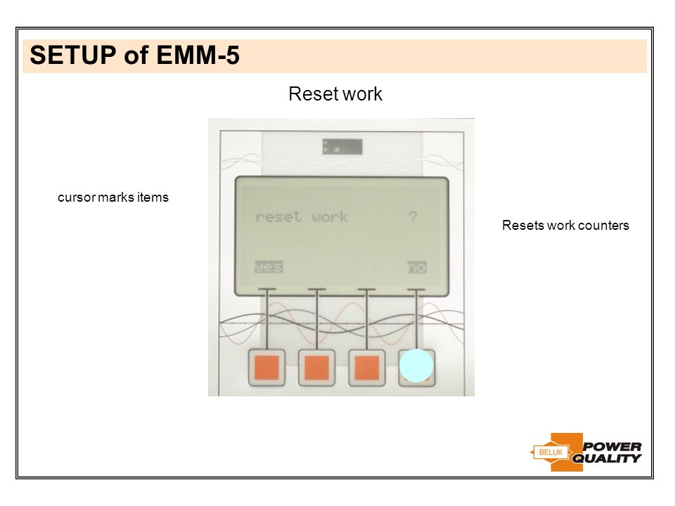 SETUP of EMM-5 Reset work cursor marks items Resets work counters