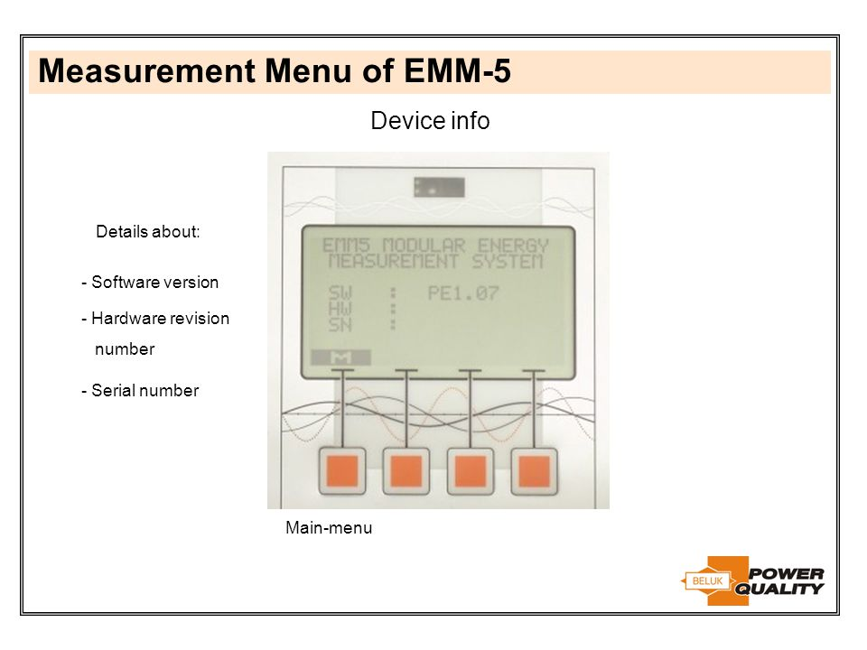 Measurement Menu of EMM-5