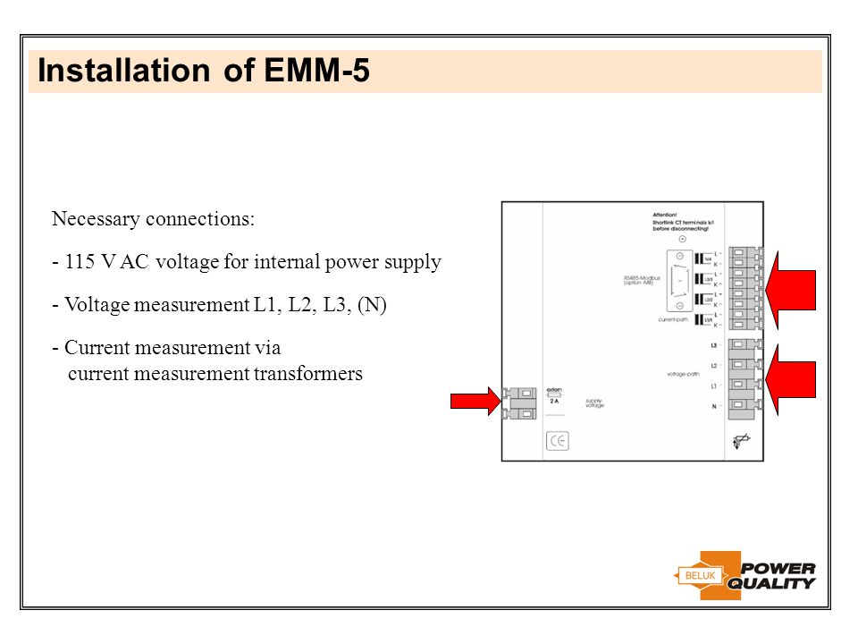 Installation of EMM-5 Necessary connections: