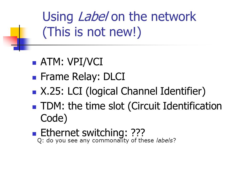 Using Label on the network (This is not new!)