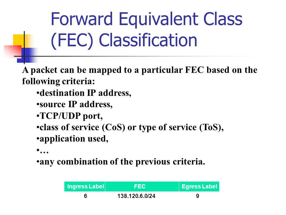 Forward Equivalent Class (FEC) Classification