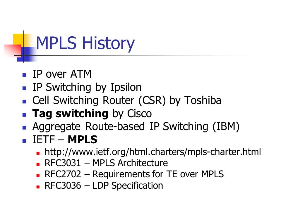 MPLS History IP over ATM IP Switching by Ipsilon