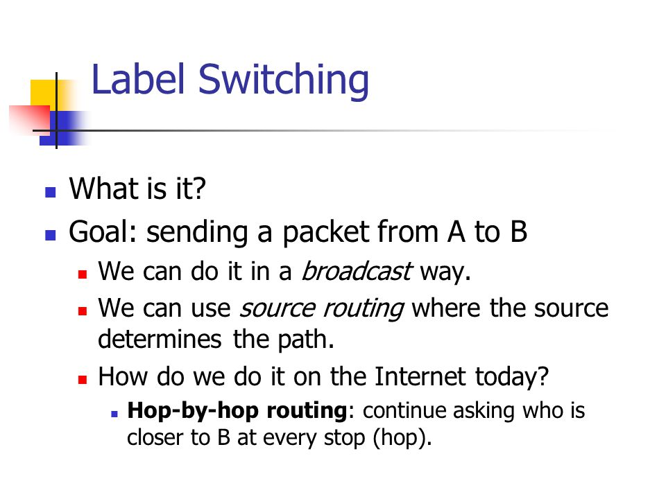 Label Switching What is it Goal: sending a packet from A to B