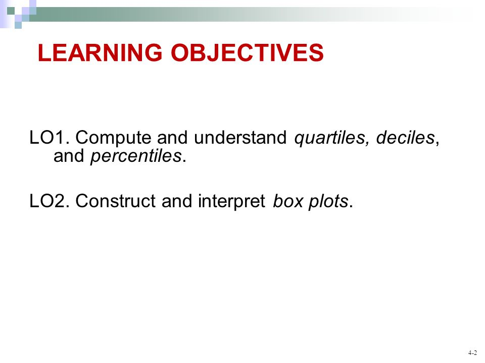 LEARNING OBJECTIVES LO1. Compute and understand quartiles, deciles, and percentiles.