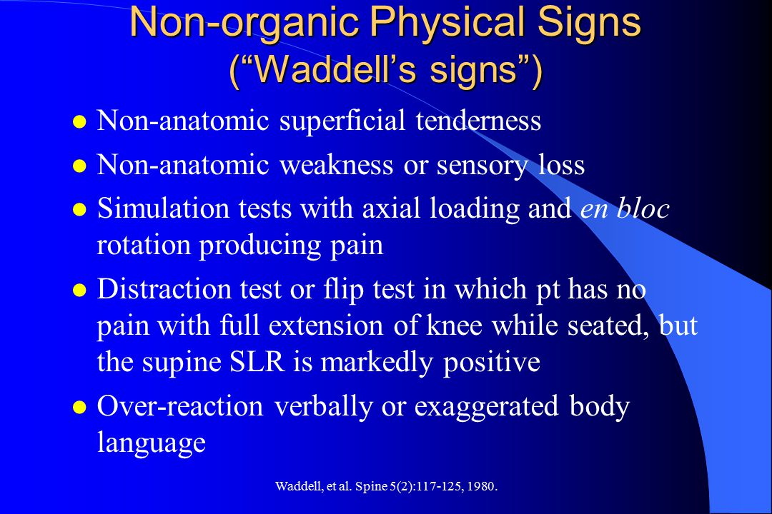 Non-organic Physical Signs ( Waddell's signs )
