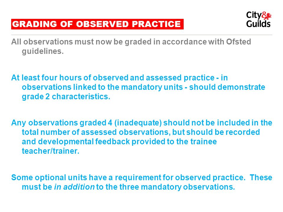 GRADING OF OBSERVED PRACTICE