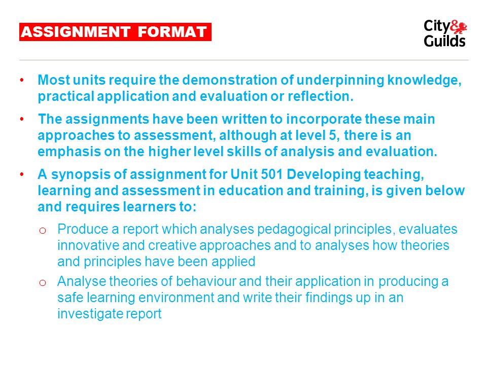 ASSIGNMENT FORMAT Most units require the demonstration of underpinning knowledge, practical application and evaluation or reflection.