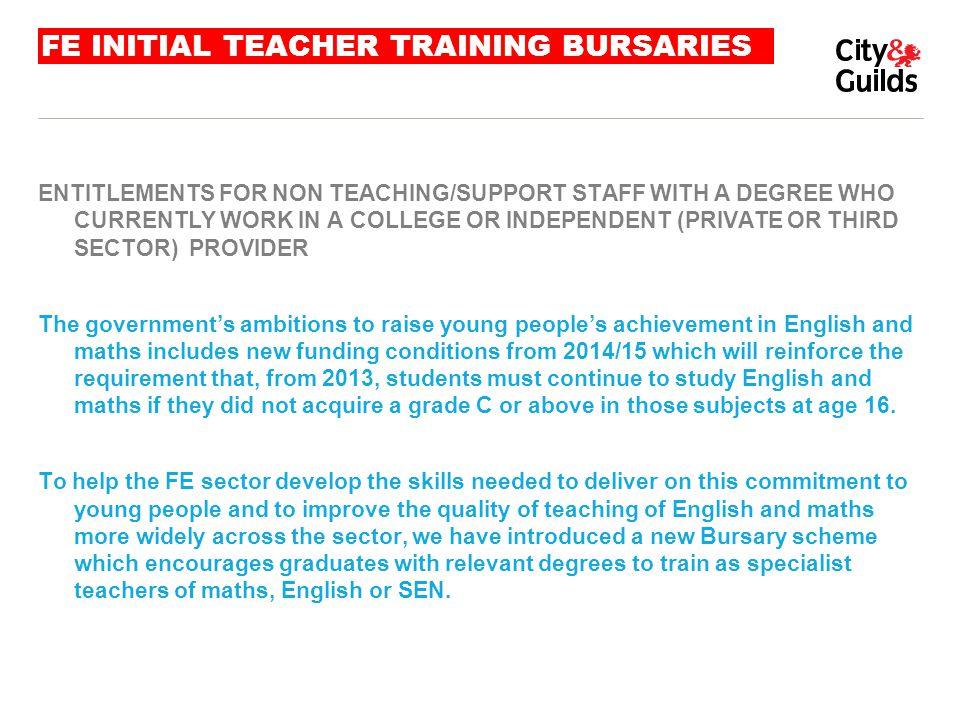 FE INITIAL TEACHER TRAINING BURSARIES