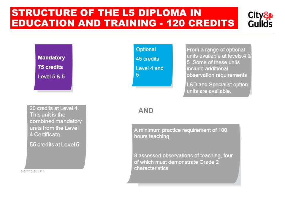 Structure of the L5 DIPLOMA in Education and Training CREDITS