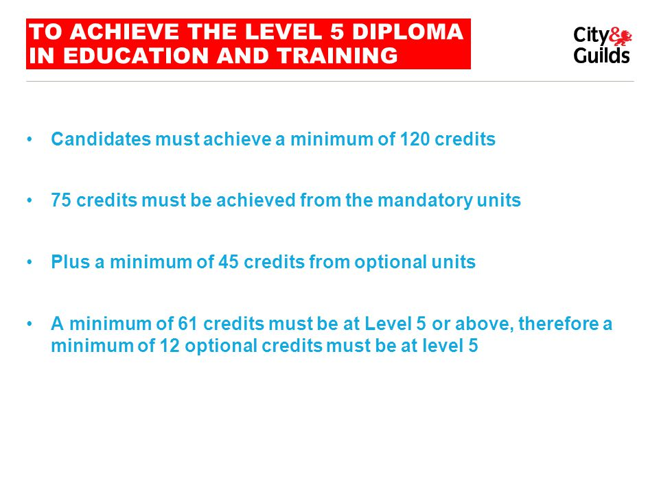 TO ACHIEVE THE LEVEL 5 DIPLOMA IN EDUCATION AND TRAINING