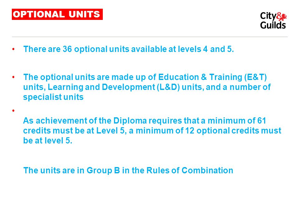 OPTIONAL UNITS There are 36 optional units available at levels 4 and 5.