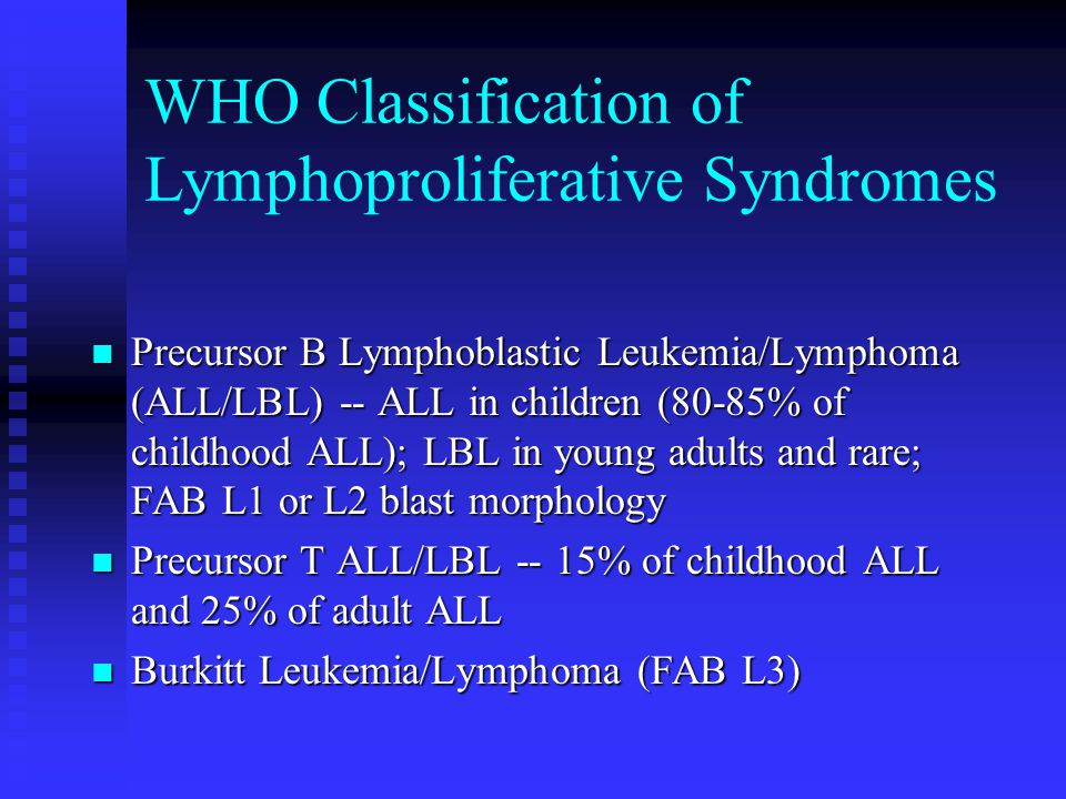 WHO Classification of Lymphoproliferative Syndromes
