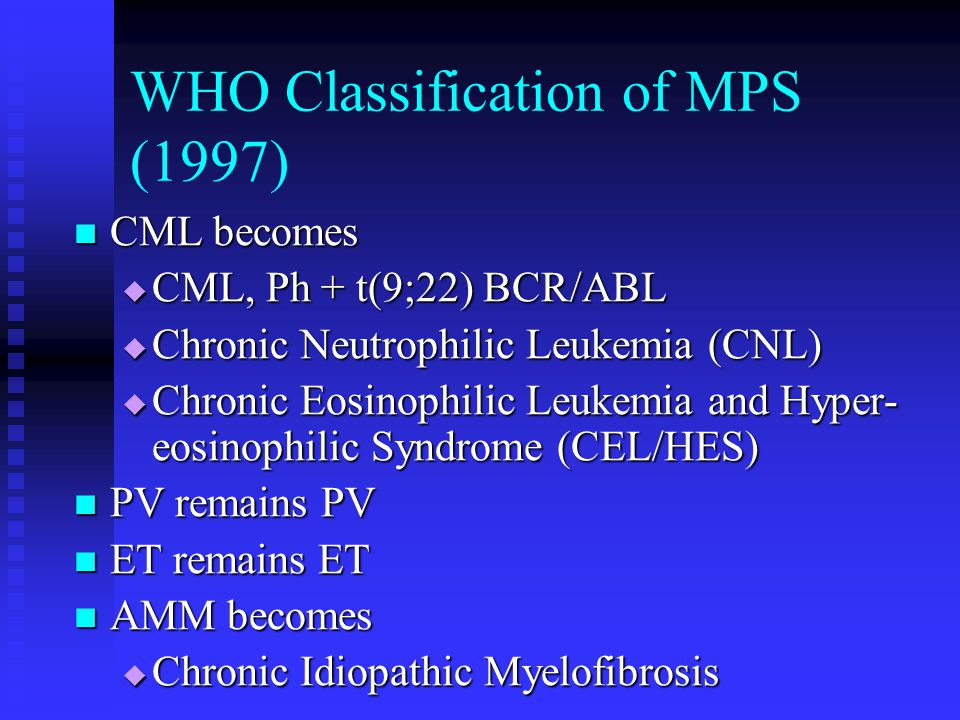 WHO Classification of MPS (1997)