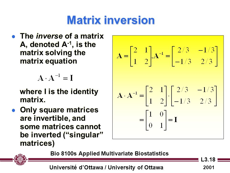 Matrix inversion The inverse of a matrix A, denoted A-1, is the matrix solving the matrix equation.