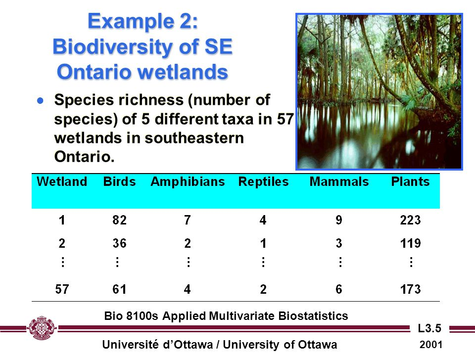 Example 2: Biodiversity of SE Ontario wetlands