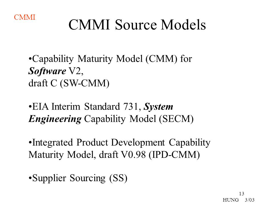 CMMI Source Models Capability Maturity Model (CMM) for Software V2, draft C (SW-CMM)