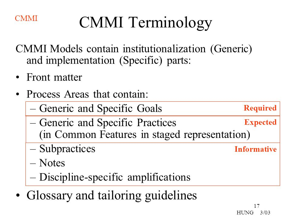 CMMI Terminology Glossary and tailoring guidelines