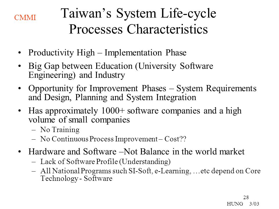 Taiwan's System Life-cycle Processes Characteristics