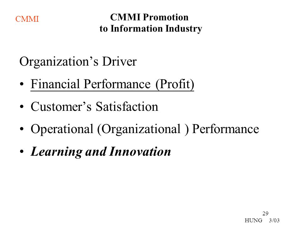 CMMI Promotion to Information Industry