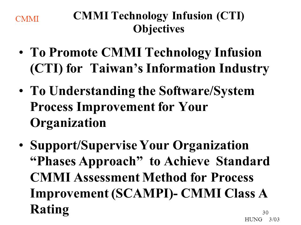 CMMI Technology Infusion (CTI) Objectives