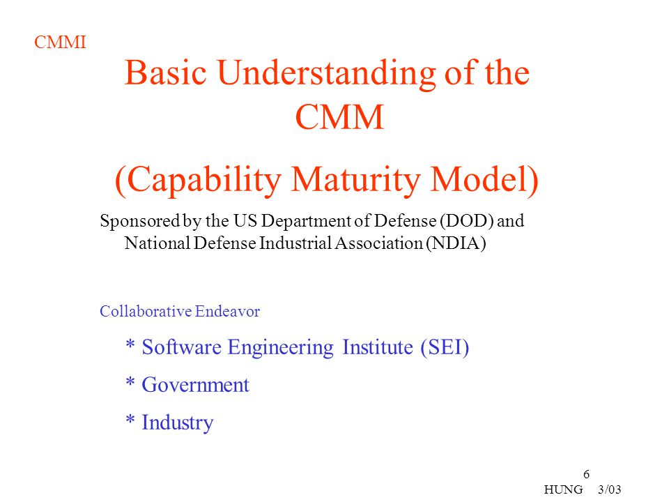 Basic Understanding of the CMM (Capability Maturity Model)