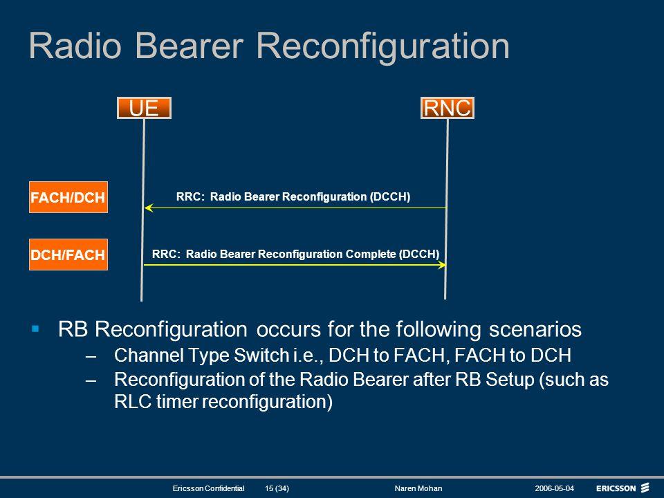 Radio Bearer Reconfiguration