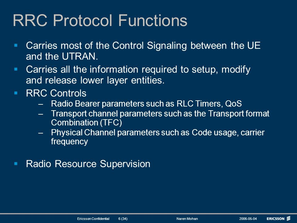 RRC Protocol Functions