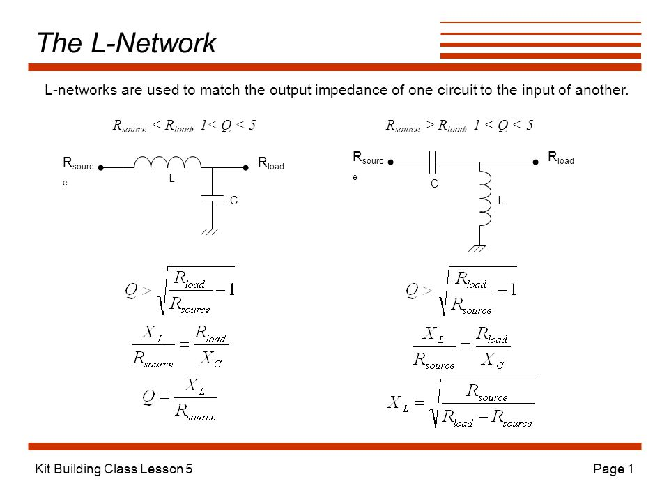 The L-Network L-networks are used to match the output impedance of one circuit to the input of another.
