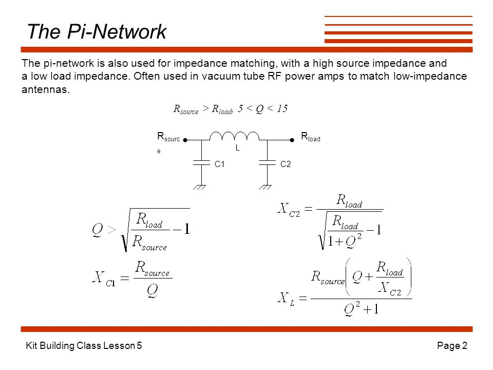 The Pi-Network The pi-network is also used for impedance matching, with a high source impedance and.