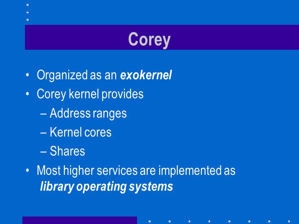 Corey Organized as an exokernel Corey kernel provides Address ranges