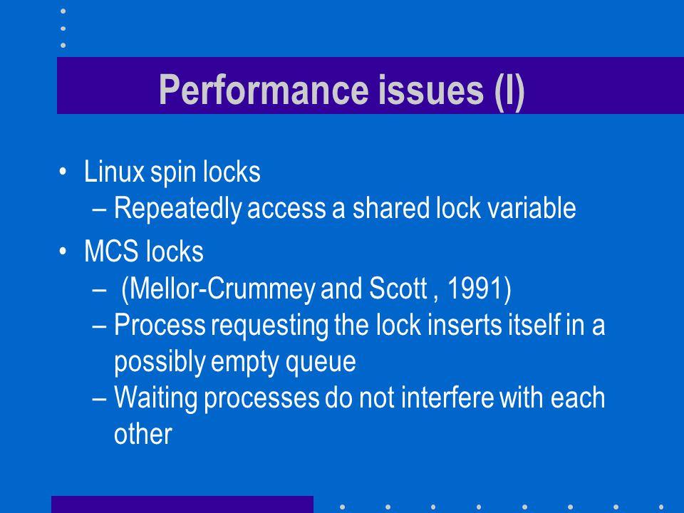 Performance issues (I)