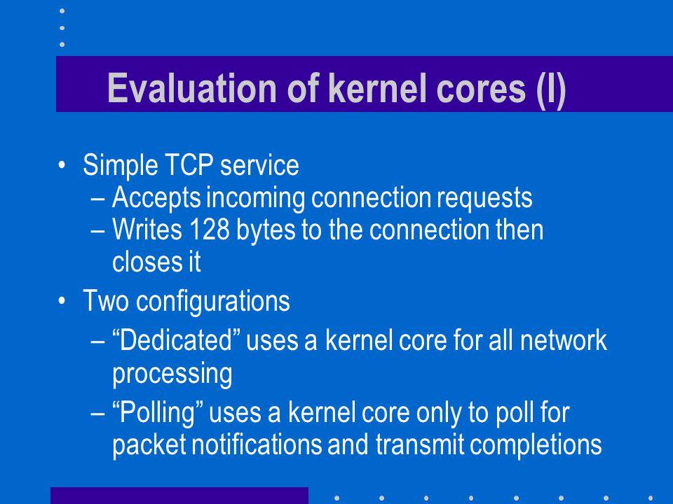 Evaluation of kernel cores (I)