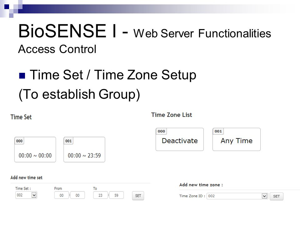 BioSENSE I - Web Server Functionalities Access Control