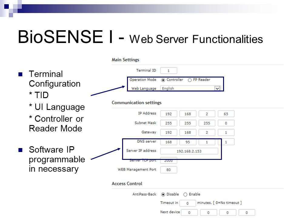 BioSENSE I - Web Server Functionalities