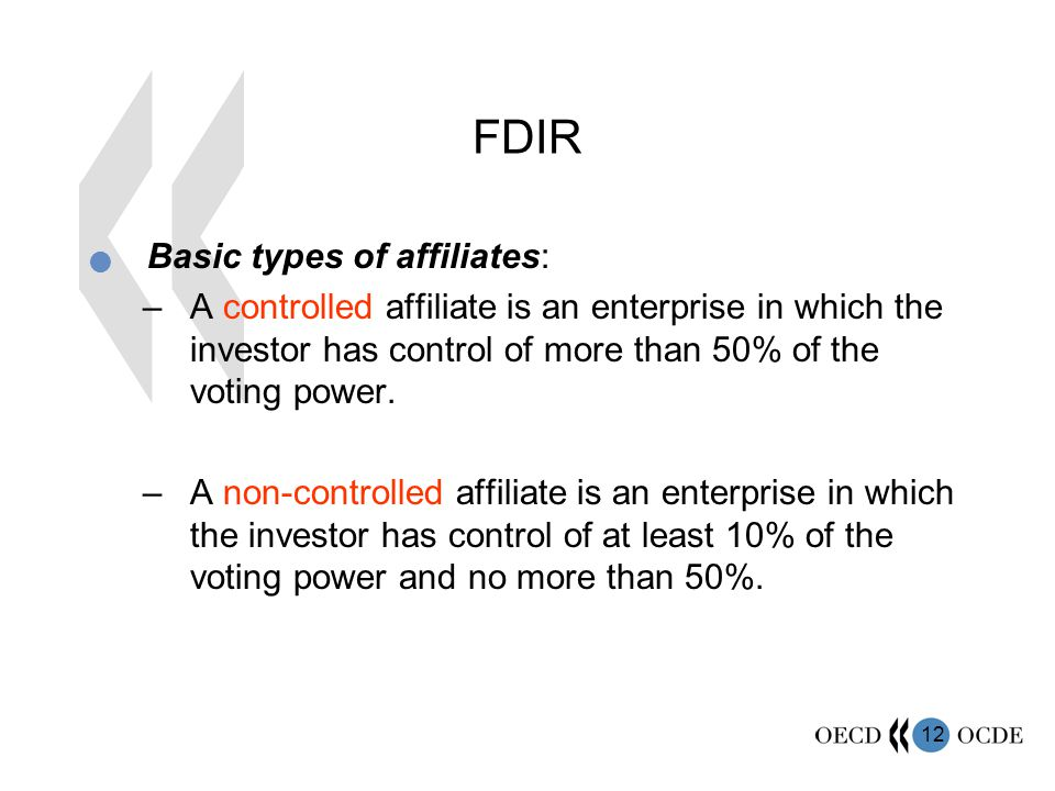 FDIR Basic types of affiliates: