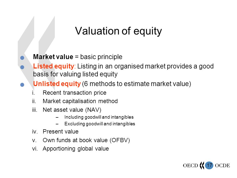 Valuation of equity Market value = basic principle