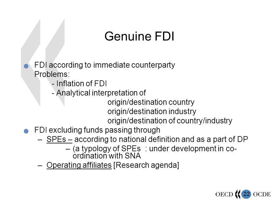 Genuine FDI FDI according to immediate counterparty Problems: