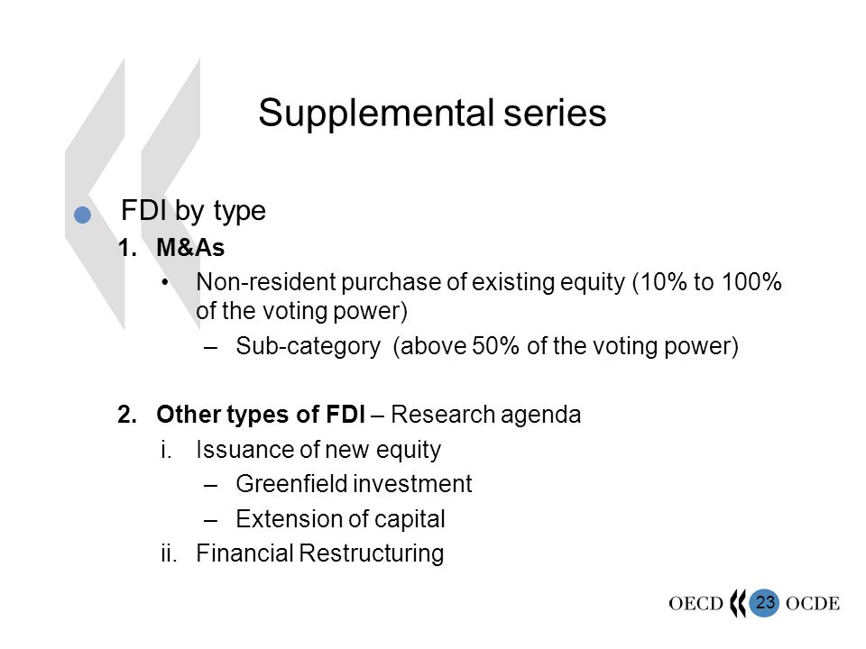 Supplemental series FDI by type M&As