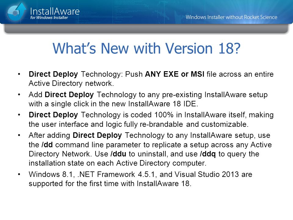 What's New with Version 18