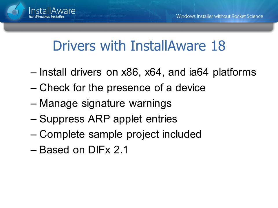 Drivers with InstallAware 18