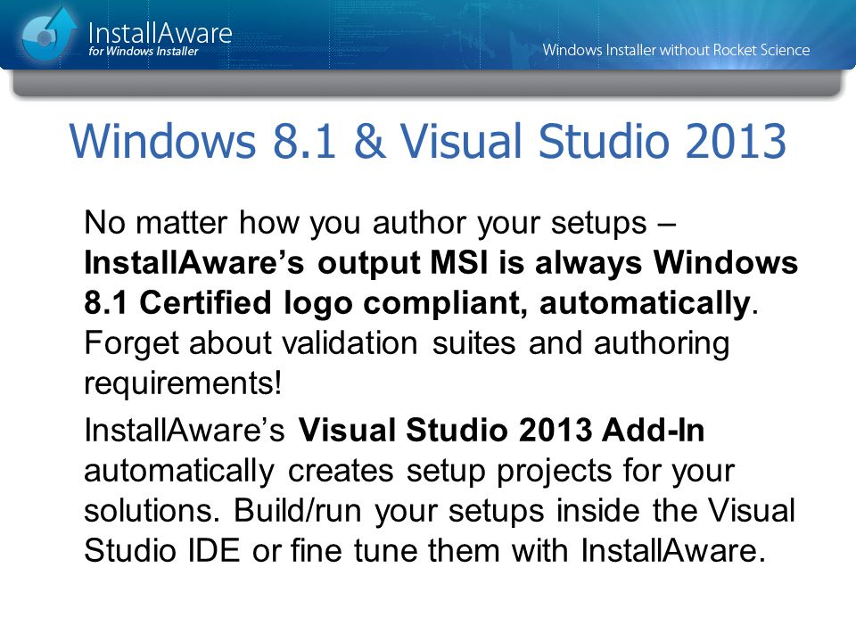 Windows 8.1 & Visual Studio 2013