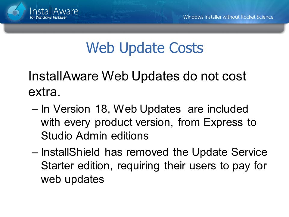 Web Update Costs InstallAware Web Updates do not cost extra.