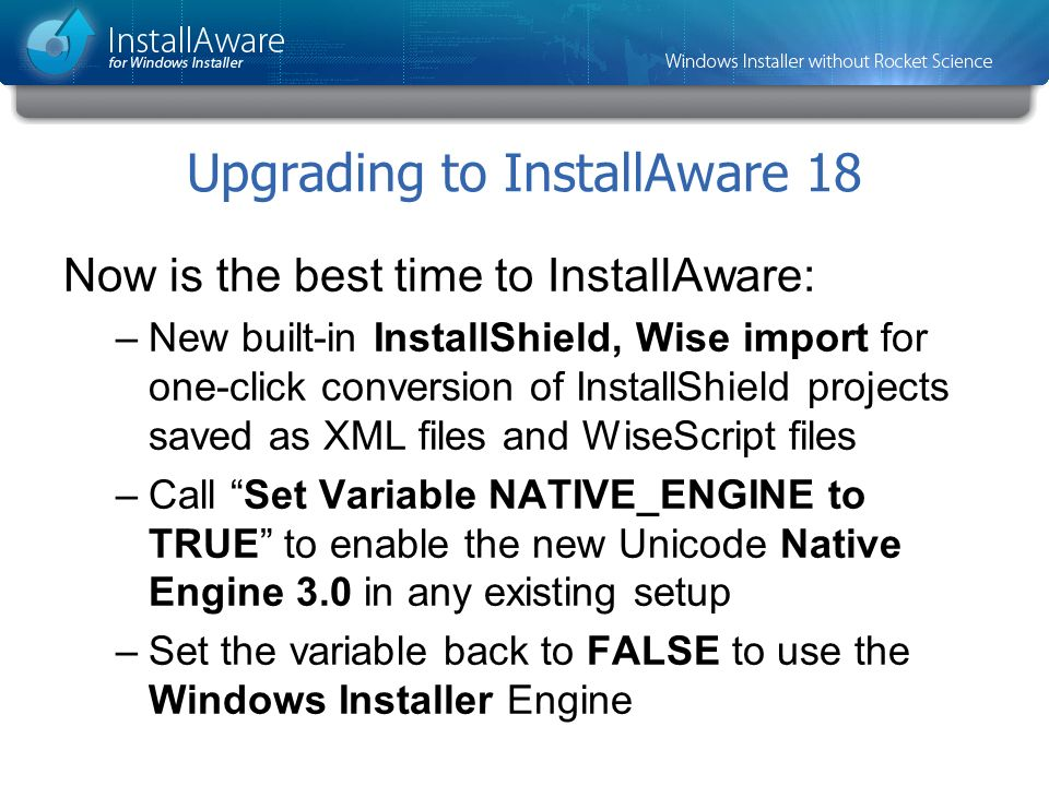 Upgrading to InstallAware 18