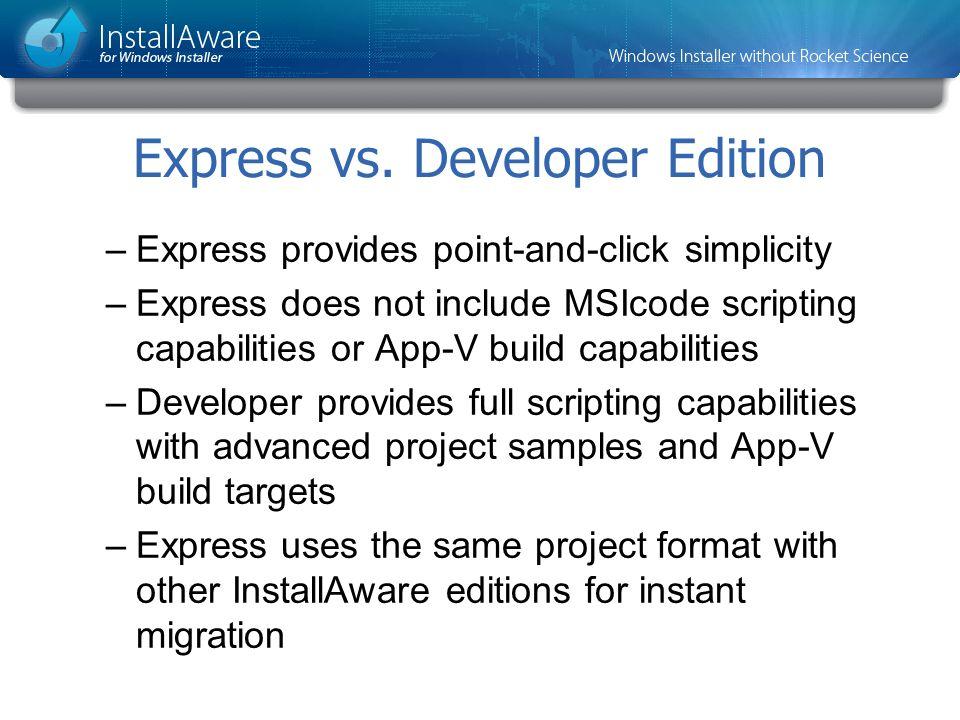 Express vs. Developer Edition