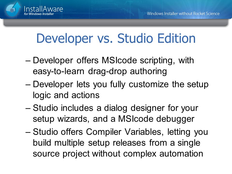 Developer vs. Studio Edition