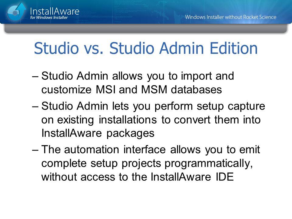 Studio vs. Studio Admin Edition