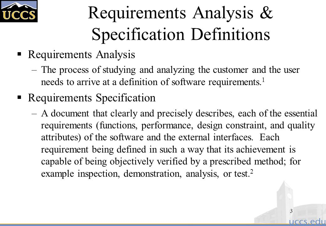 Requirements Analysis & Specification Definitions