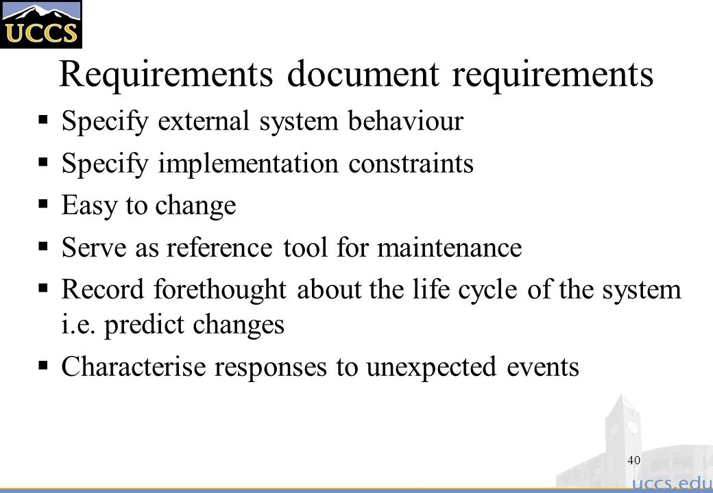 40 Requirements Document Requirements
