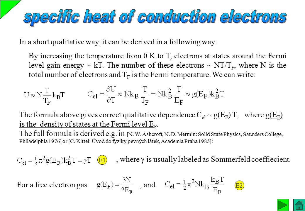 specific heat of conduction electrons